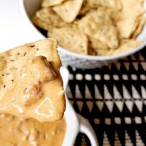 queso dip on chip